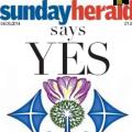 """""""Portada del 'Sunday Herald' de l'edició del diumenge 4 de maig de 2014"""" Imatge: Sunday Herald Digital"""